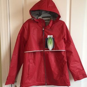 Ladies red Charles River rain jacket NWT. Size S